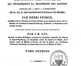 Notions générales sur l'origine et la nature de la valeur (1823)