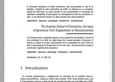 L'école autrichienne d'économie, une problématique de l'ignorance : du subjectivisme à la neuroéconomie (2010)