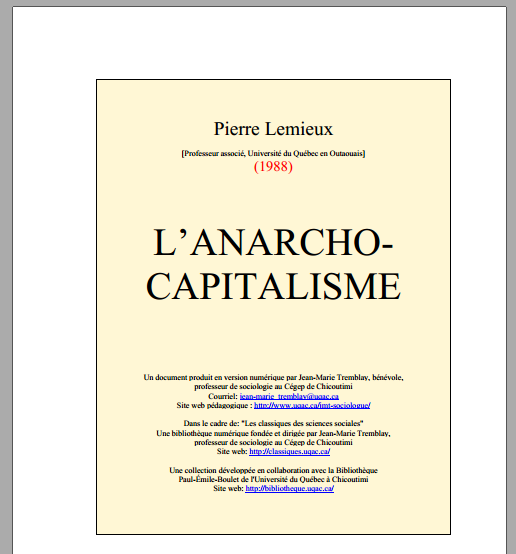 Anarcho capitalisme