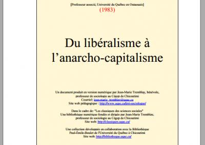 Du libéralisme à l'anarcho-capitalisme (1983)