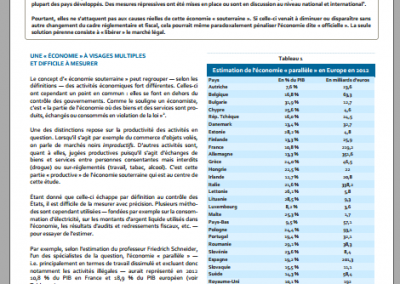 Les causes fiscales et réglementaires de l'« économie souterraine » (2013)