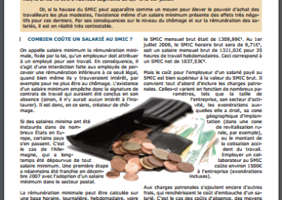 Les effets économiques du salaire minimum (2008)